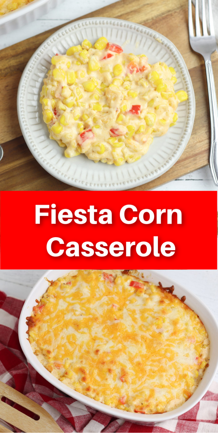 Easy Fiesta Corn Casserole Recipe - such a delicious and easy side dish #mexican #fiesta #sidedish via @simplysidedishes89