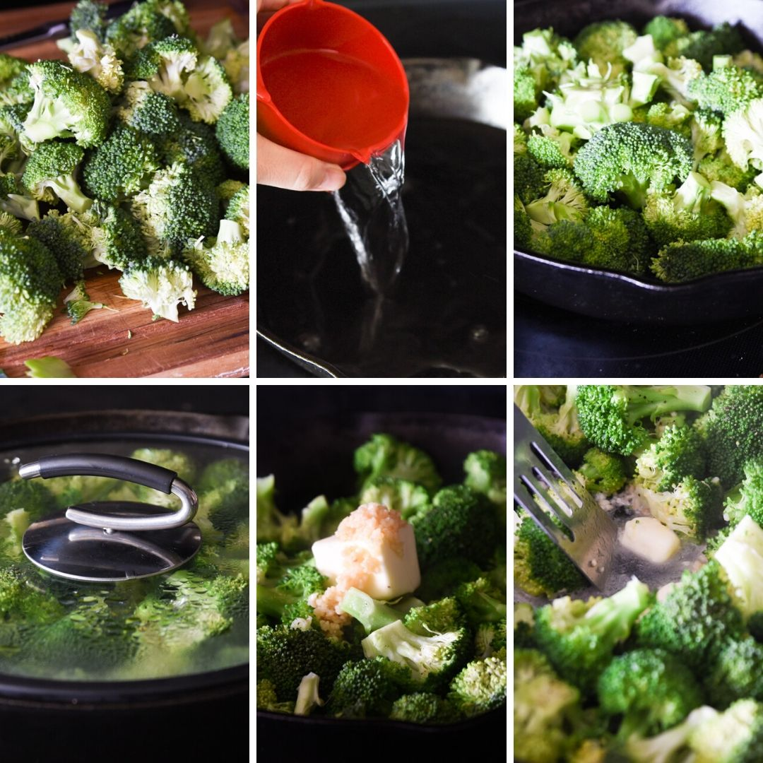 collage of instructions on how to make garlic parmesan broccoli