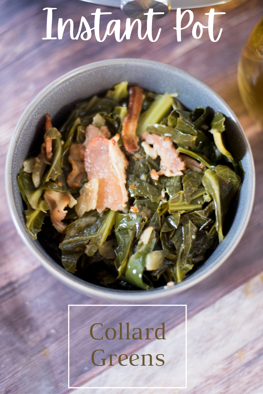 These Instant Pot Collard Greens with bacon are SO good. Perfect for ringing in the New Year! via @simplysidedishes89