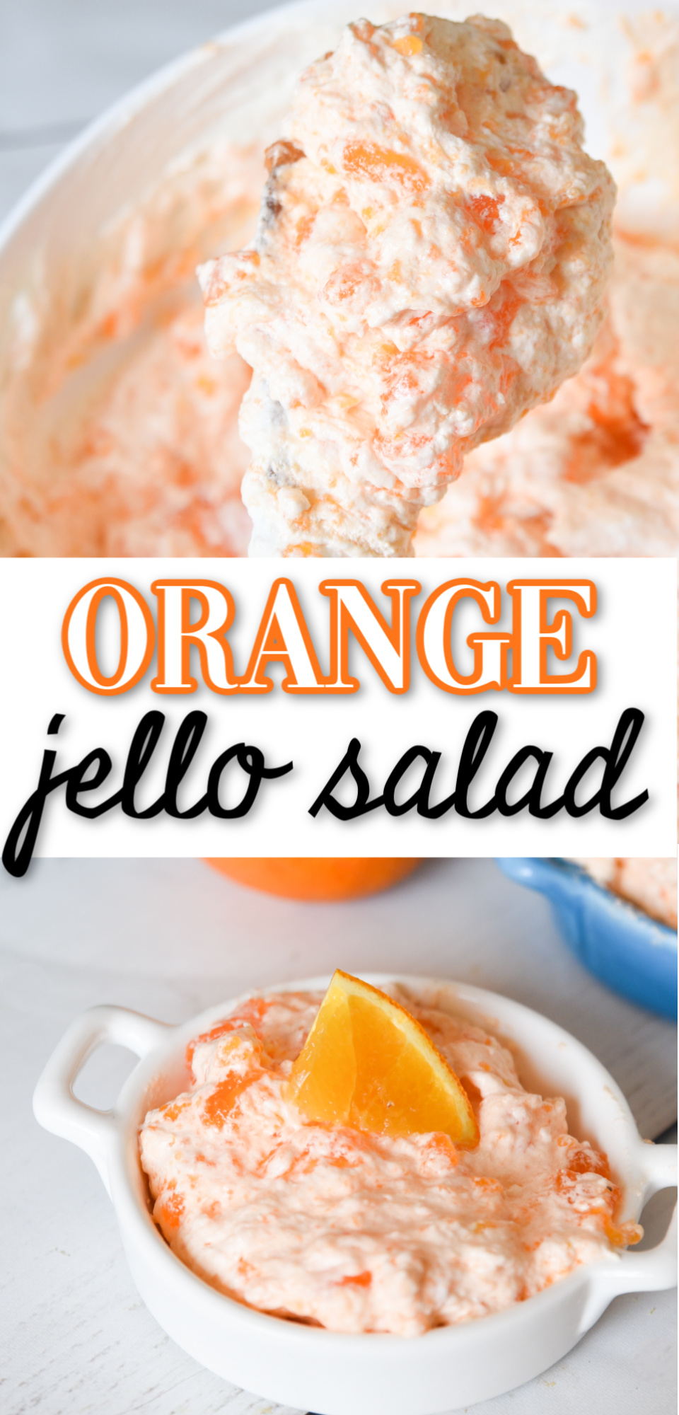 This easy orange jello salad is filled with mandarin oranges, pineapple, and whipped cream. It is the perfect easy fluff jello salad recipe! via @simplysidedishes89