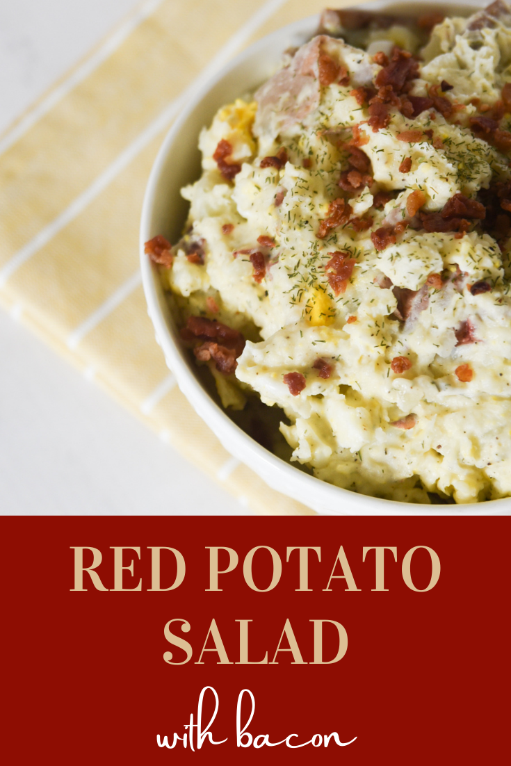 Potato Salad with Red Potatoes stands out with its bold colors and layered flavors. Complete with bacon, dill, and sour cream, this Red Skin Potato Salad Recipe is sure to satisfy! via @simplysidedishes89