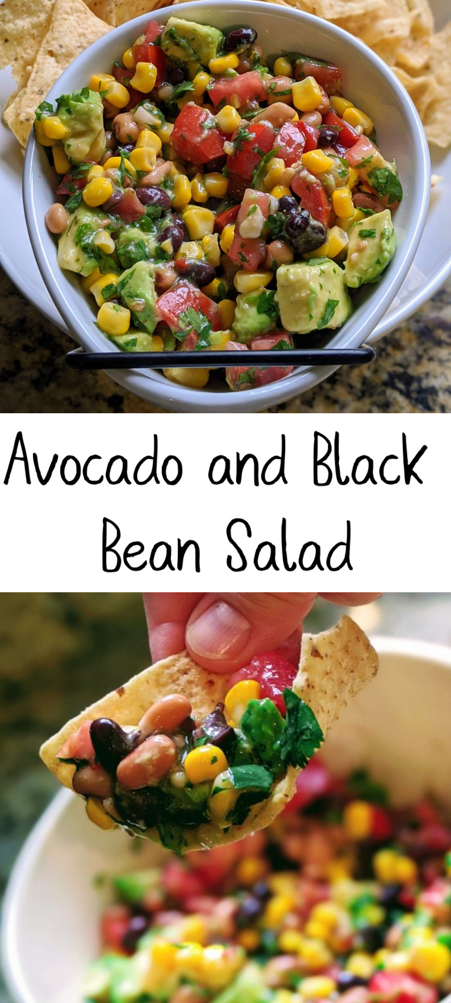 Collage of avocado salad