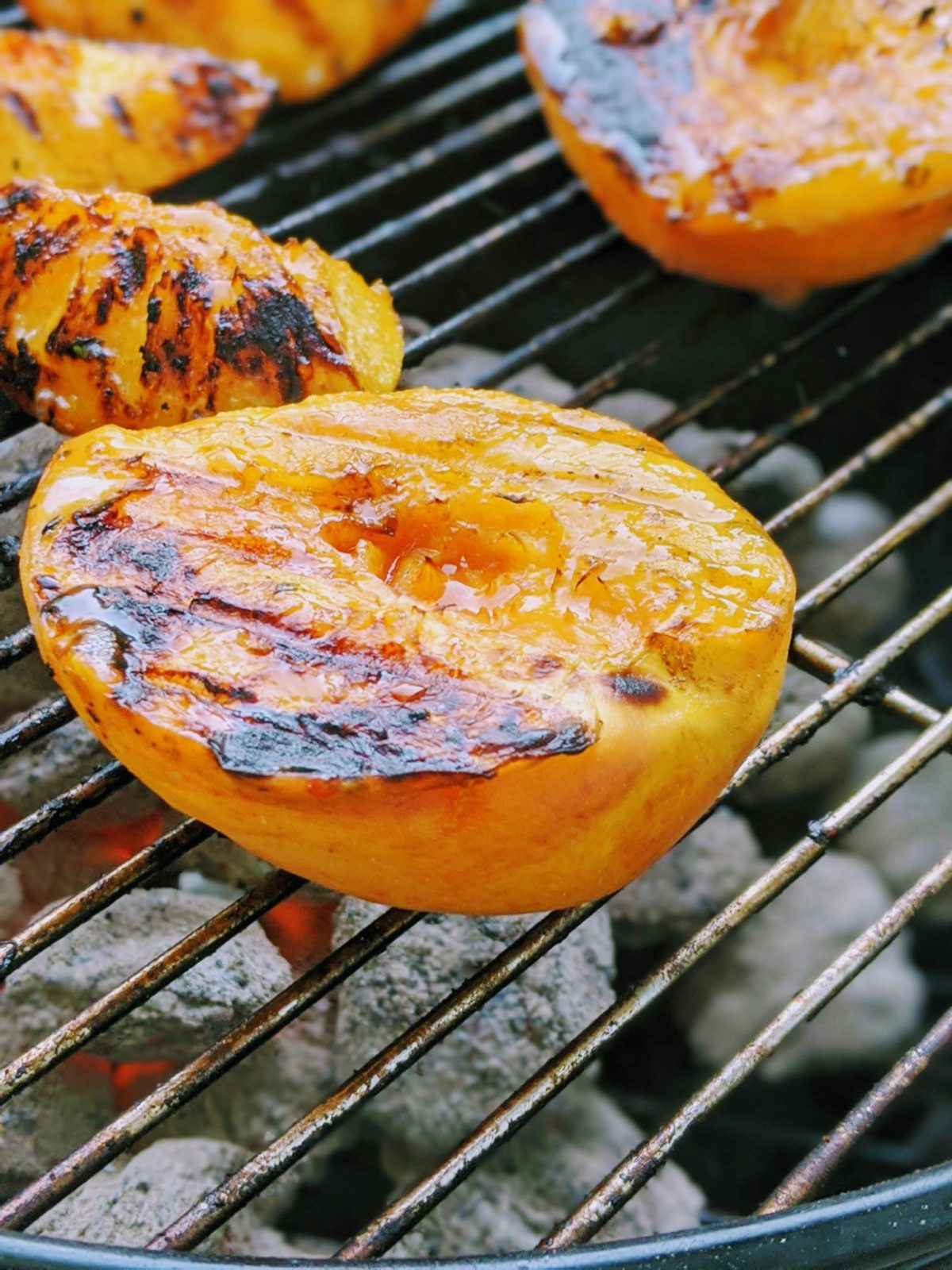 closeup of grilled peach