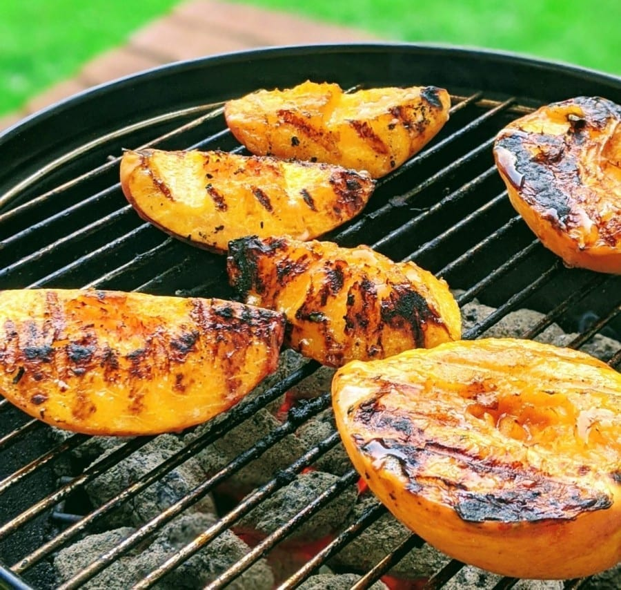 grilled peaches on grill top