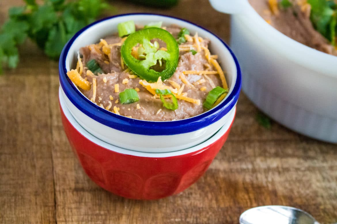 instant pot refried beans in bowl