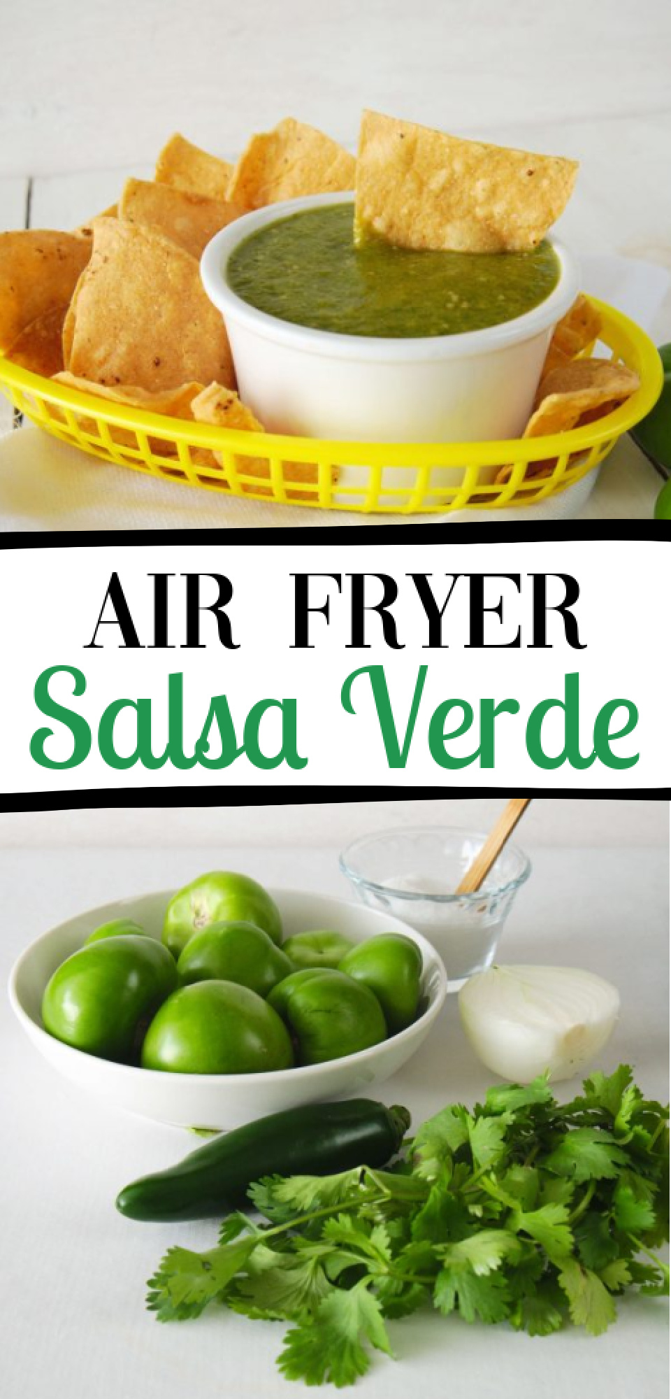 Fresh homemade salsa is the absolute best! Try this easy Air Fryer Salsa Verde Recipe and use it to cook your favorite Mexican recipes or just enjoy with chips! via @simplysidedishes89