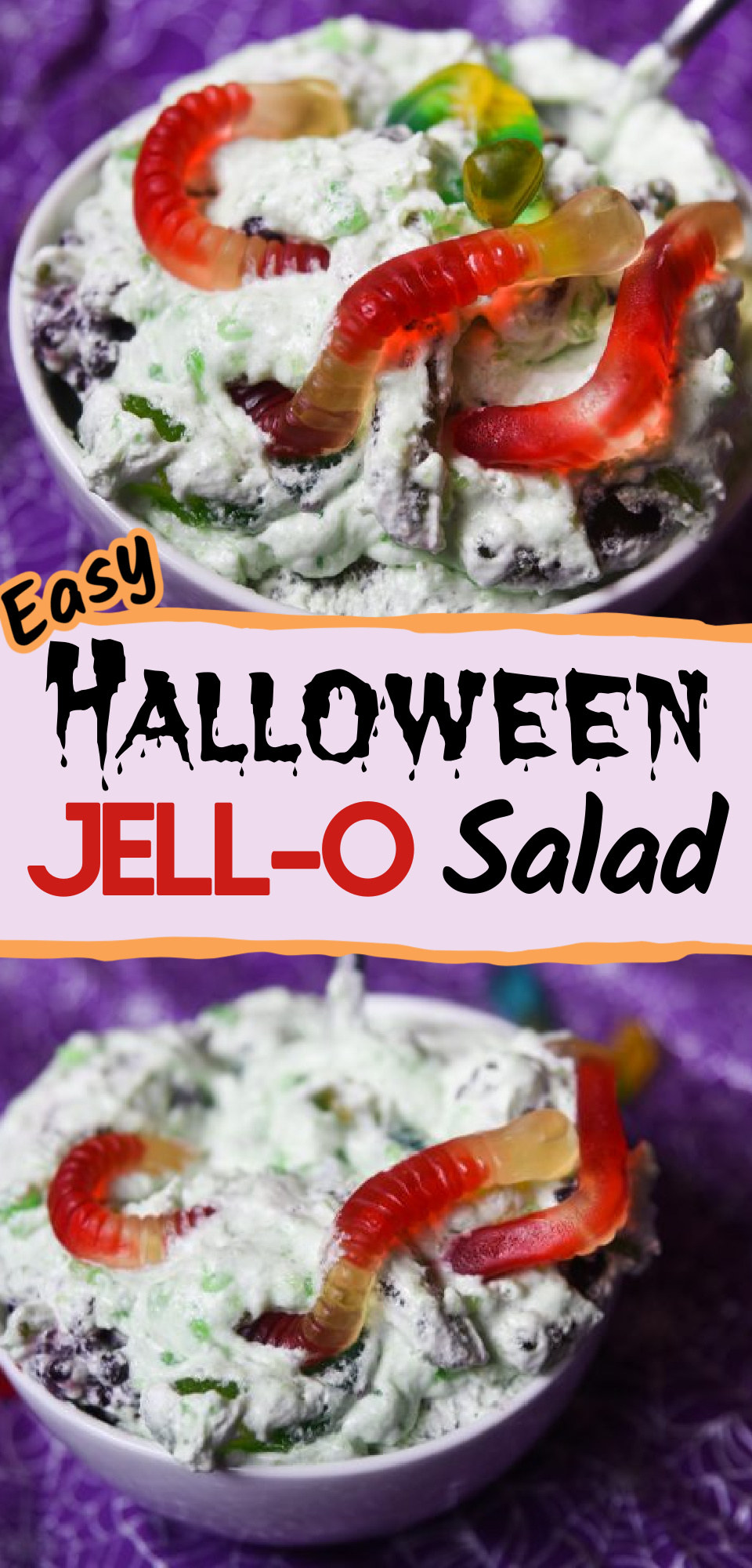 This chilled Halloween Jello salad is an excellent way to bring texture and sweetness to any meal or party smattering. This recipe calls for fun gummy worms and blackberries that your kids will love. Make Halloween even more fun this year! via @simplysidedishes89
