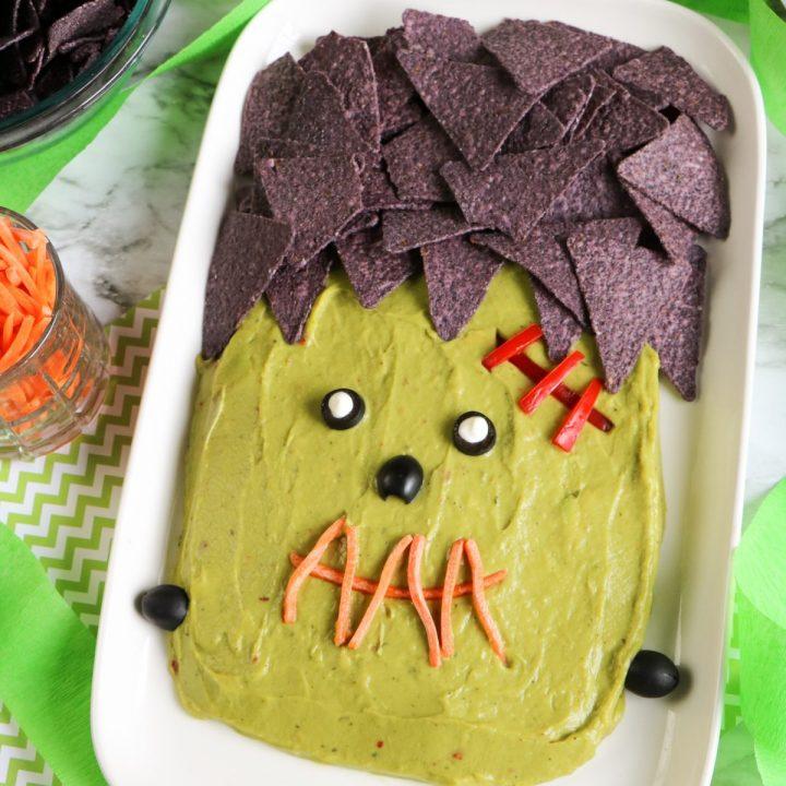 Easy Guacamole Platter - Frankenstein Style