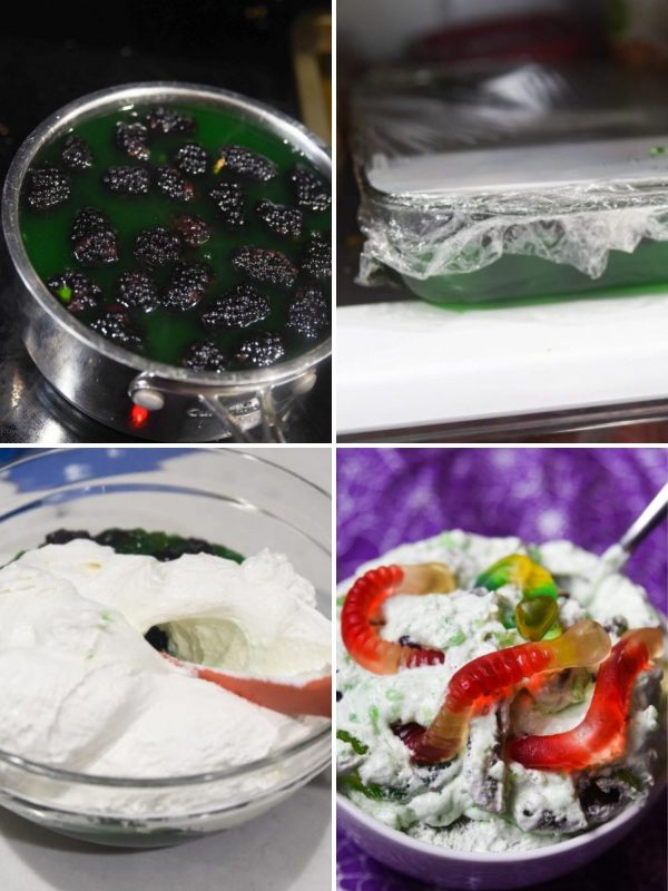 overview of instructions for halloween jello salad