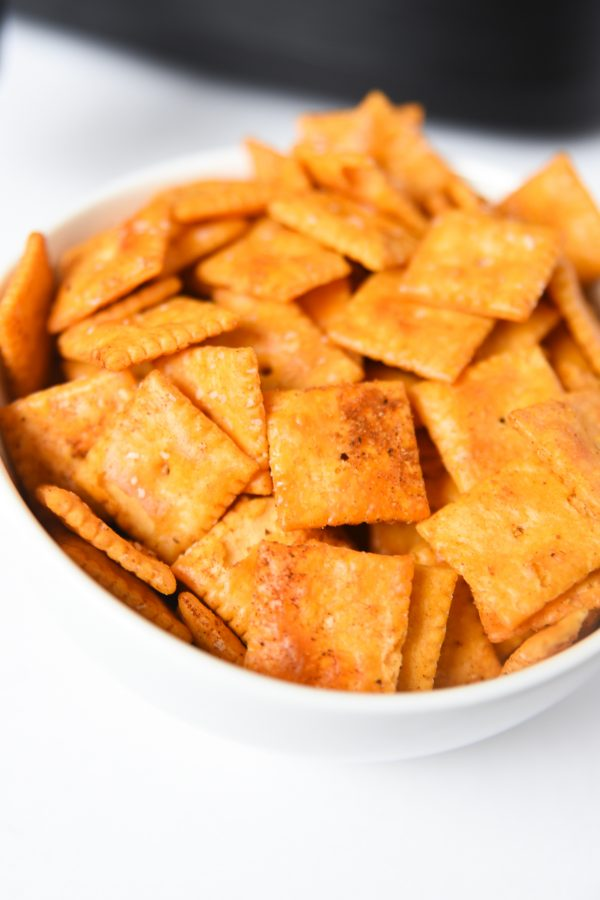 cheez its in white bowl