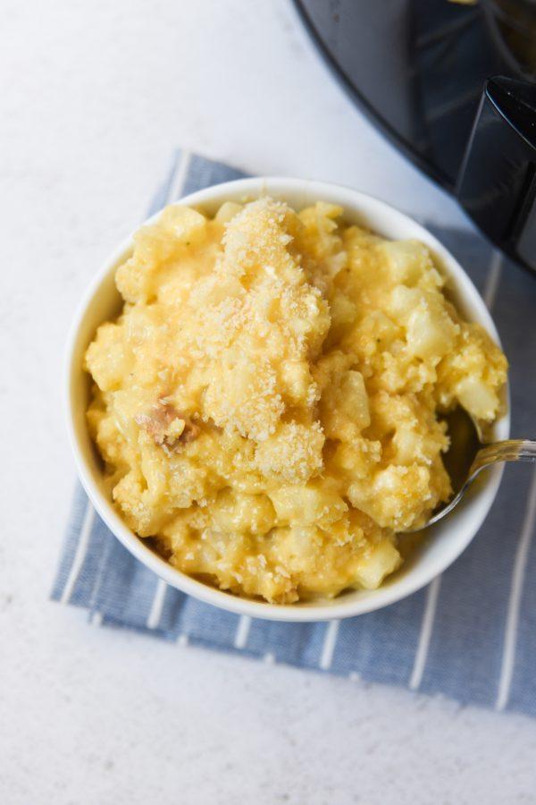 bowl of cheesy potatoes