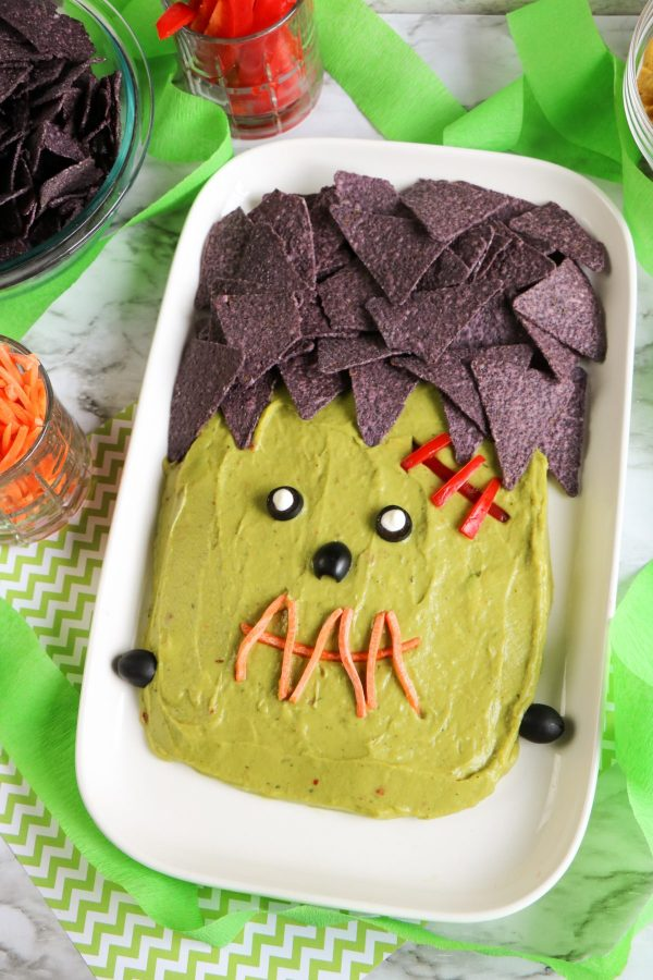 frankenstein guacamole with chips