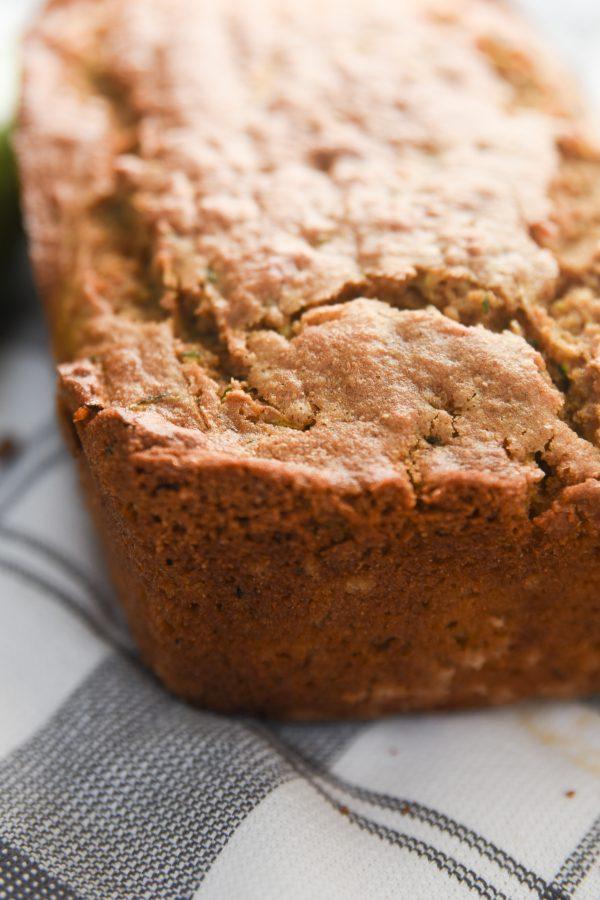 closeup of zucchini bread