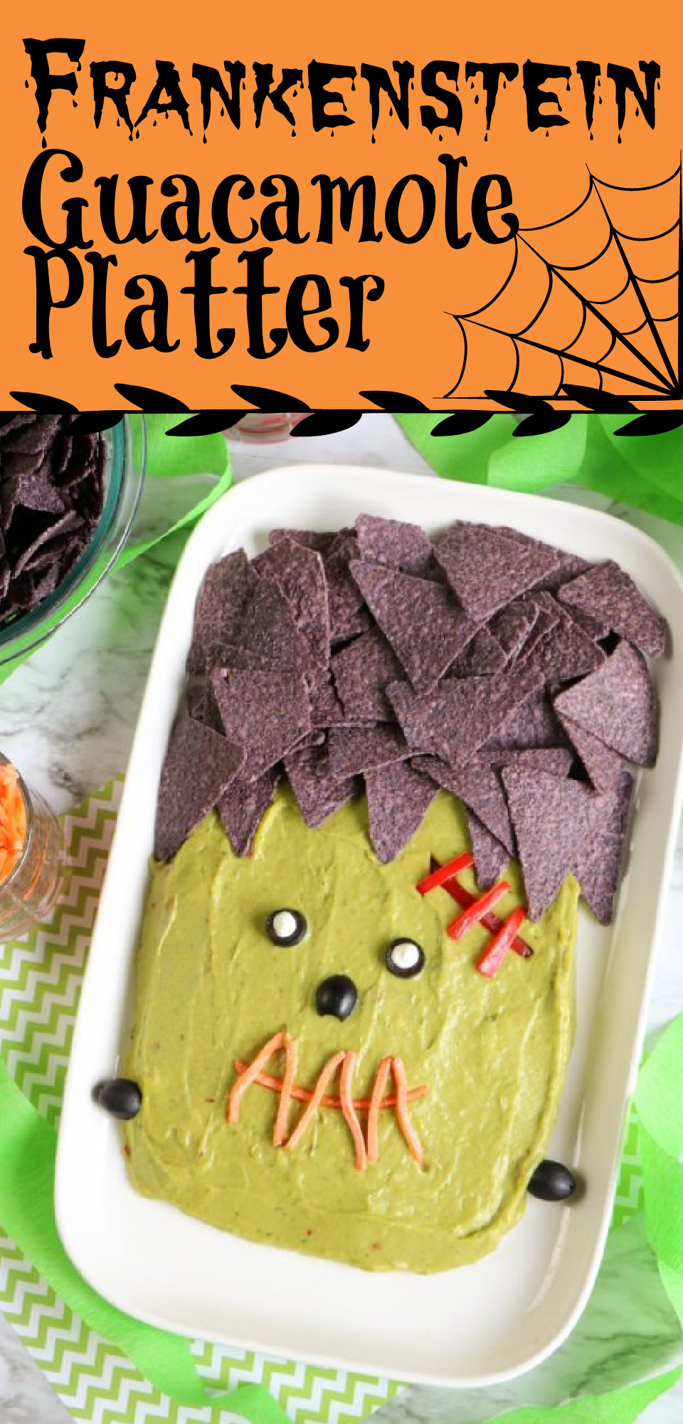 Looking for an easy side dish for Halloween? Look no further than this Frankenstein Guacamole Recipe! via @simplysidedishes89