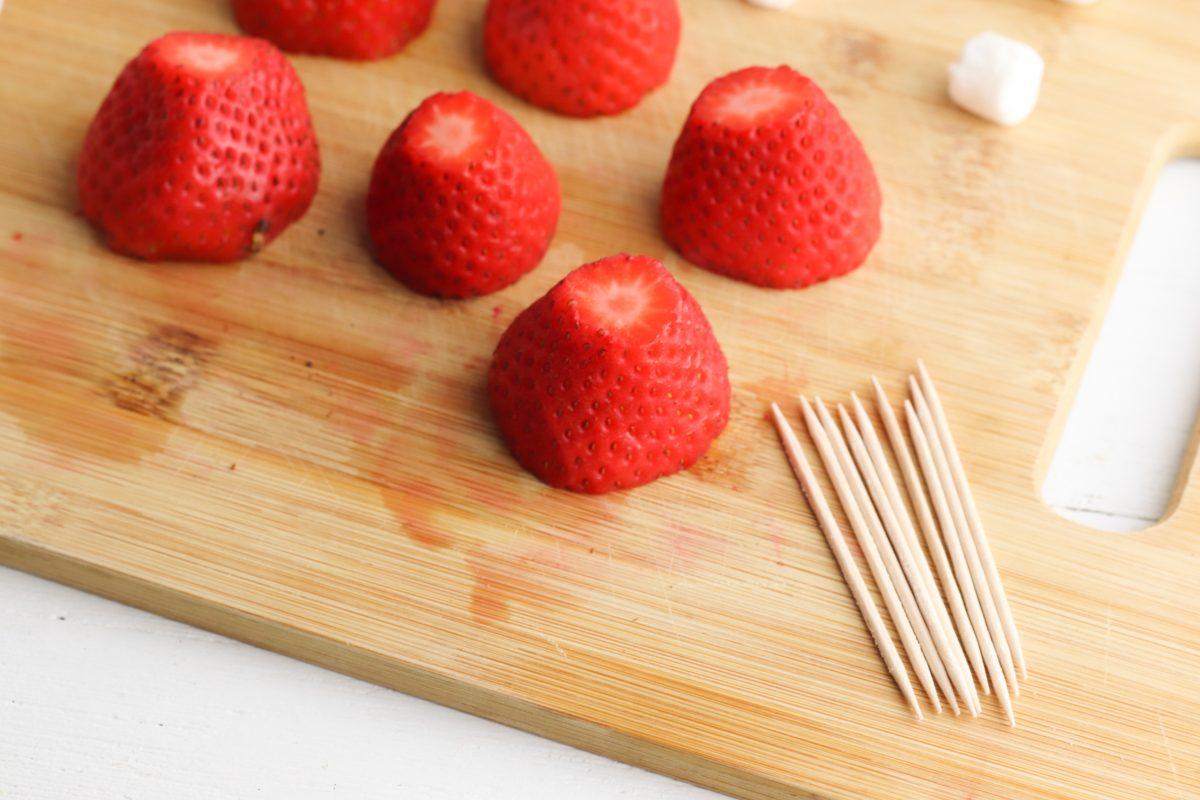 strawberries on cutting board