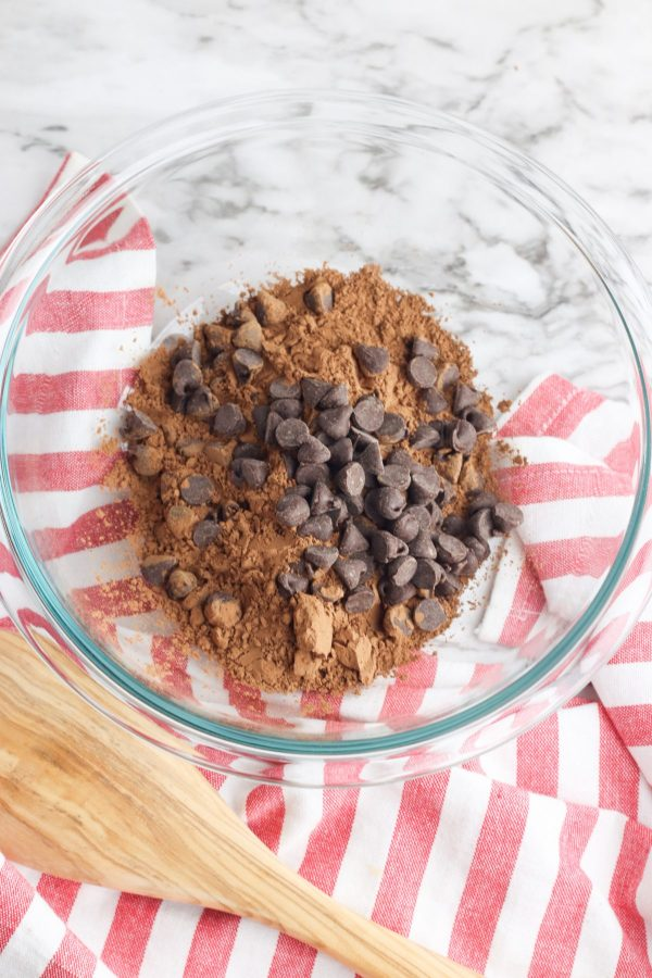 chocolate chips with cocoa powder