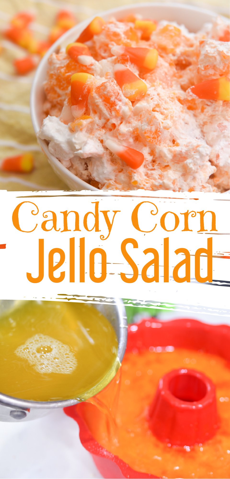 Candy Corn Jello Salad (perfect for Halloween!) via @simplysidedishes89
