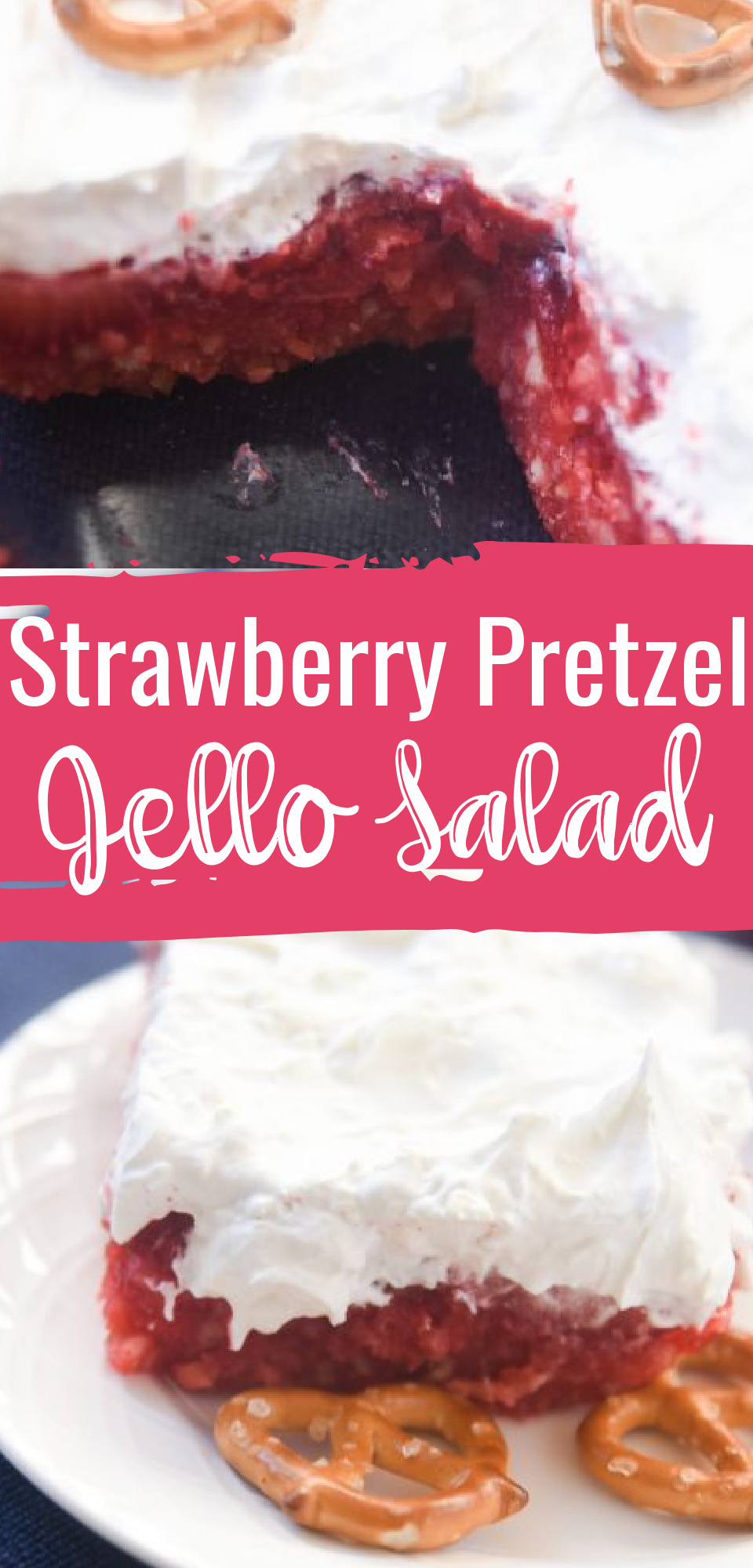 This Jello Dessert recipe is such a big hit at parties and family get togethers! The combination of sweet and salty tastes make this the BEST Strawberry Pretzel Jello Salad out there! via @simplysidedishes89