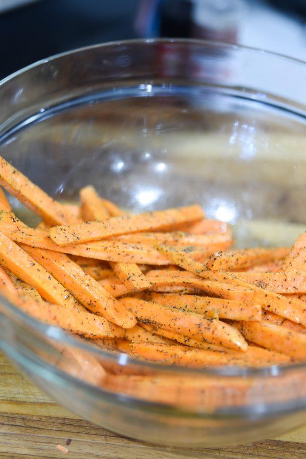 seasoned sweet potato fries - uncooked