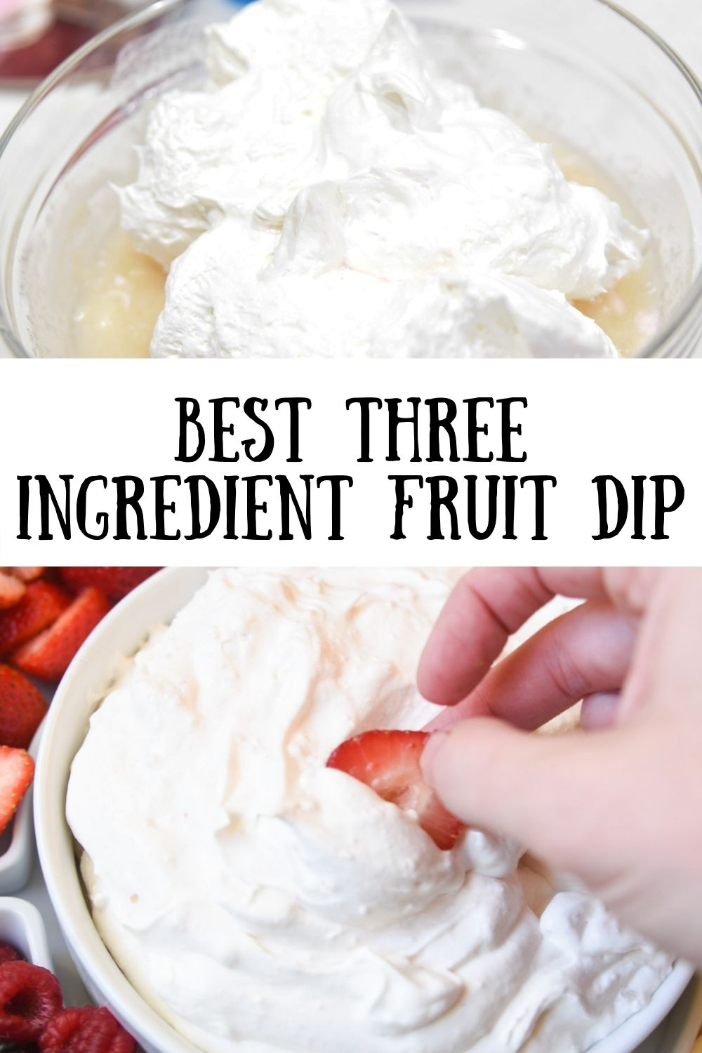 With only three ingredients, you will be able to whip up this homemade fruit dip in just a few minutes! The subtle coconut flavor, combined with the tasty yogurt and cool whip, makes this the best fruit dip ever! via @simplysidedishes89