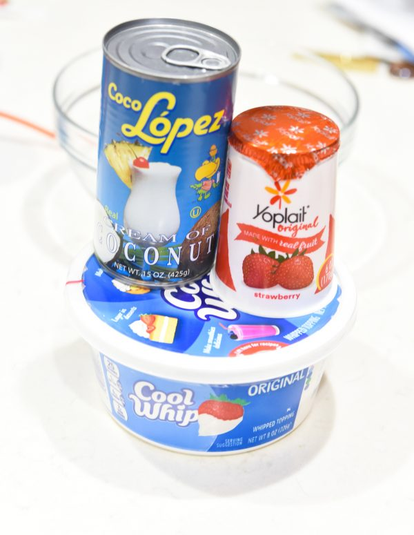 Cool whip, yogurt, and cream of coconut