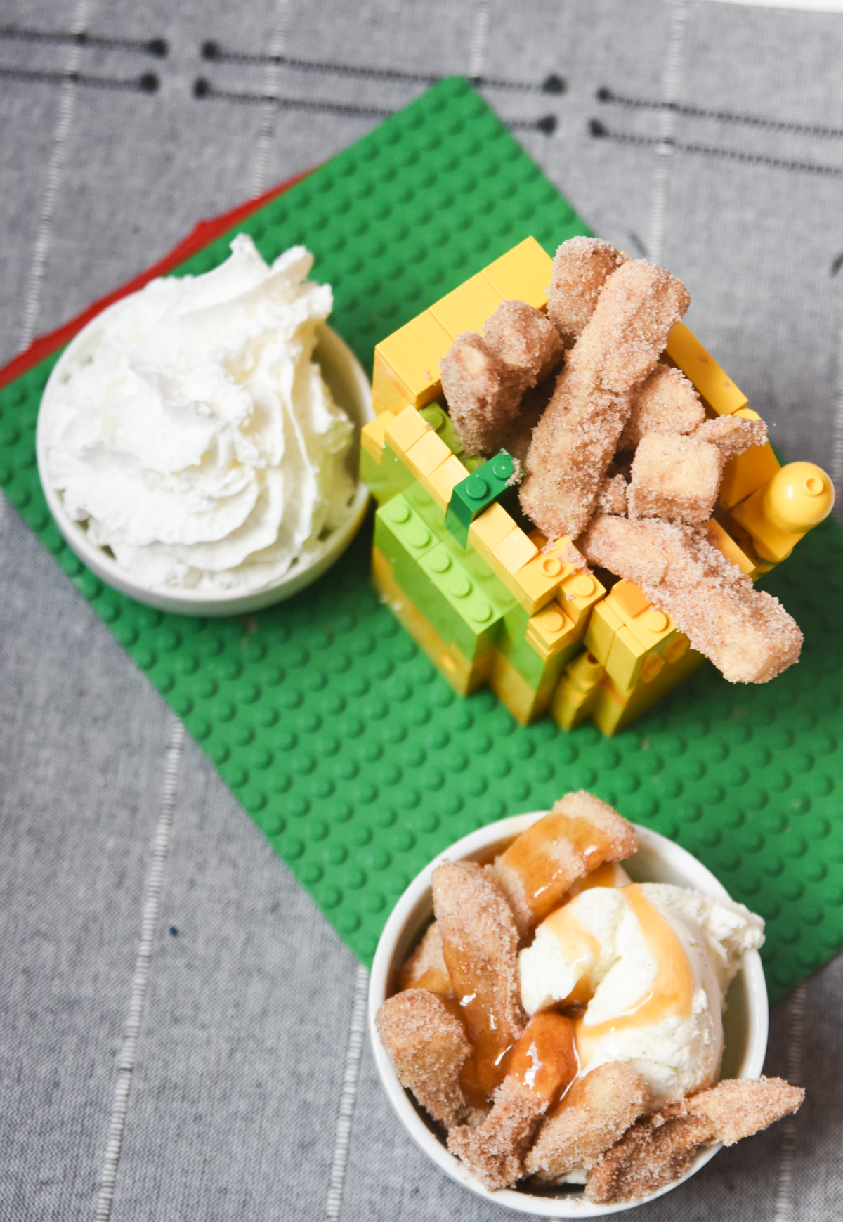 apple fries with whipped cream